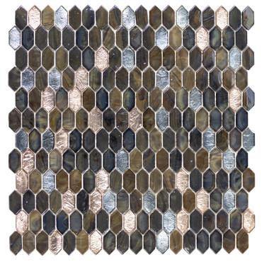 Royal Gems Regal Tigers Eye 0.6x1.2 Picket Mosaic on 12x12 Sheet (ANTHRGRT)