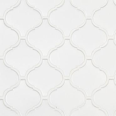 Retro Bianco Glossy Arabesque Mosaic (SMOT-PT-RETBIA-ARABESQUE)