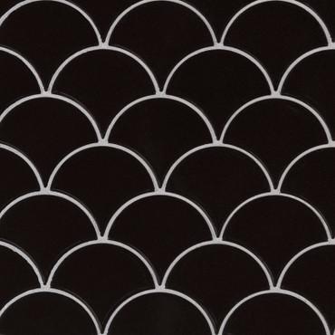 Retro Nero Glossy Scallop Mosaic (SMOT-PT-RENERO-SCALOP8MMG)