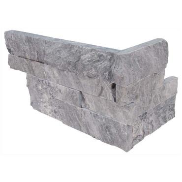 "Ledger Panel Glacial Grey Marble Splitface ""L"" Corner 6x12x6 (LPNLMGLAGRY618COR)"