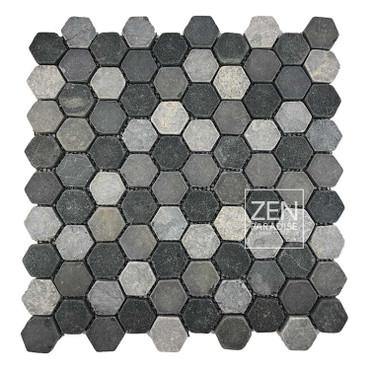 "Mini Hexagon Mountain Mix 1"" Mosaic on 11x11 Sheet (ZPMH002)"