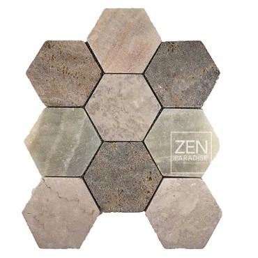 """XL Hexagon Beach Mix 4"""" Mosaic on 11.5x12 Sheet (ZPXH001)"""