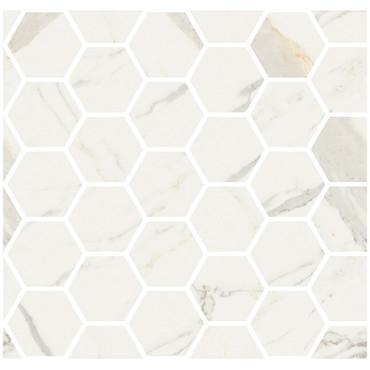 "Marmorea Bianco Calacatta Polished 2"" Hexagon Mosaic (FIBCH)"