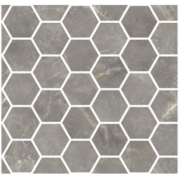 "Marmorea Grigio Imperiale Polished 2"" Hexagon Mosaic (FIGIH)"
