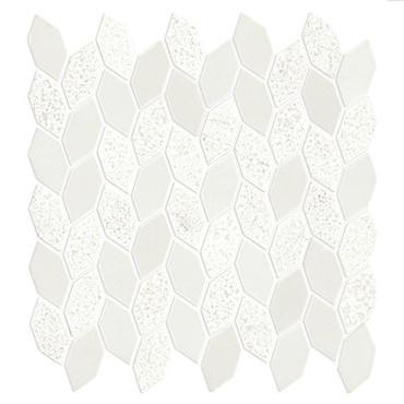 Candora Vestal White Mixed Finish Marble Linear Leaf Mosaic (M046LINLEAFMS1P)