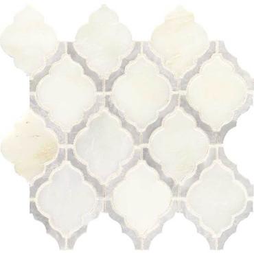 Candora Vestal White Blend Polished Marble Mini Arabesque Mosaic (DE14MINARABMS1L)