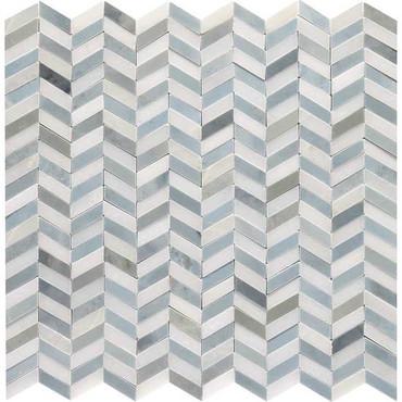 Candora White and Blue Blend Polished Marble Mini Chevron Mosaic (DE17MINCHEVMS1L)