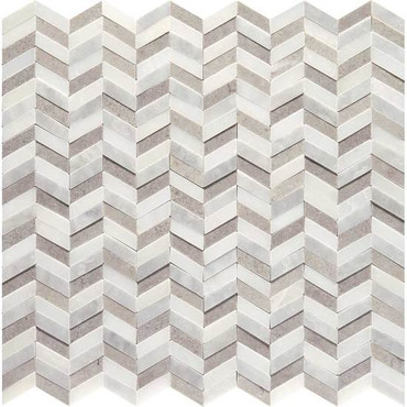 Candora White and Gray Blend Polished Marble Mini Chevron Mosaic (DE18MINCHEVMS1L)