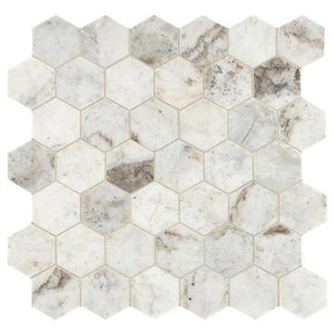 """Presario Lumen White Honed 2"""" Hexagon Mosaic (M0242HEXMS1U)"""