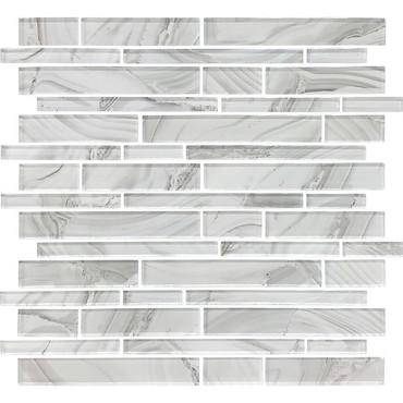 Refluence White Cap Glass Linear Mosaic 12x12 (RE08RANDMS1P)
