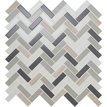 Serentina Tranquility Herringbone Glass & Stone Mosaic (SA94582HERRMS1P)
