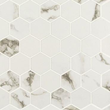 "Pietra Statuario Matte 2"" Hexagon Mosaic (NSTA2X2HEX-N)"