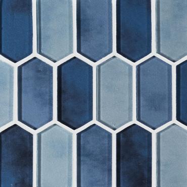 Boathouse Blue Glass Picket Mosaic (SMOT-GLSPK-BOATBLU8MM)