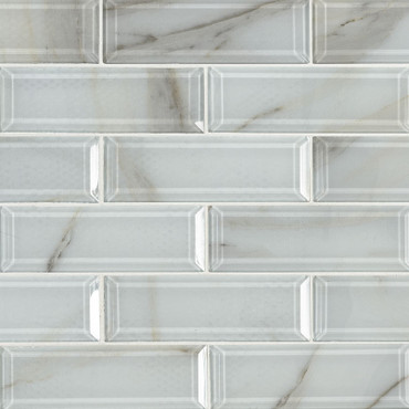 Ivory Amber Beveled 2x6 Mosaic (SMOT-GLSST-IVOAMB8MM)