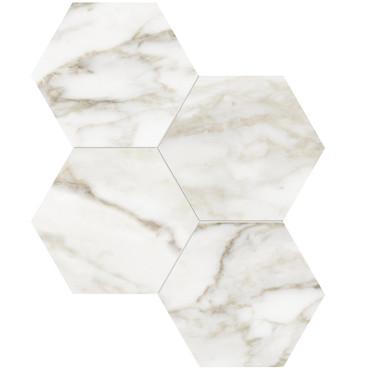 """La Marca Calacatta Paonazzo Honed 6"""" Hexagon Mosaic (4501-0333-0)"""