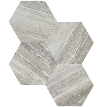"La Marca Travertino Instrato Honed 6"" Hexagon Mosaic (4501-0337-0)"