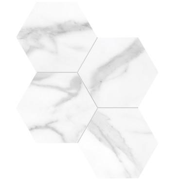 "La Marca Statuario Nuovo Honed 6"" Hexagon Mosaic (4501-0338-0)"