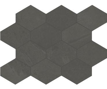 Brazilian Slate Pencil Grey Porcelain Hex Mosaic 10x13 (8494)