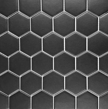 "Retro Mosaics Black Matte 2"" Hexagon Mosaic (EMS5A11)"