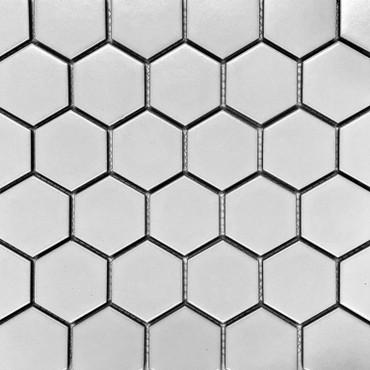 """Retro Mosaics White Matte 2"""" Hexagon Mosaic (PO6570M)"""