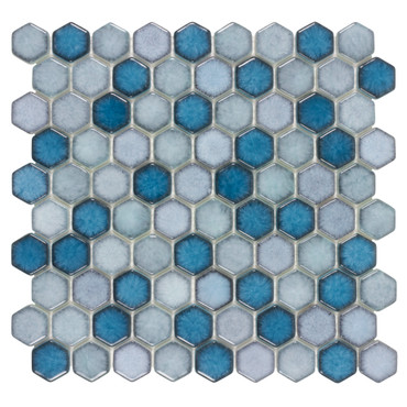 """Watercolor Bayview 1"""" Hex Mosaic (ANTHWCBV)"""