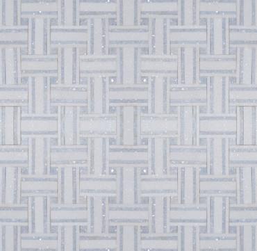 Manhattan Thassos & Blue Celeste Polished Bacon Mosaic (MB100)
