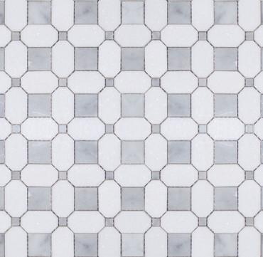 Manhattan Thassos & Carrara Polished Square Dot Mosaic (MB105