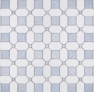 Manhattan Thassos & Blue Celeste Polished Square Dot Mosaic (MB106)