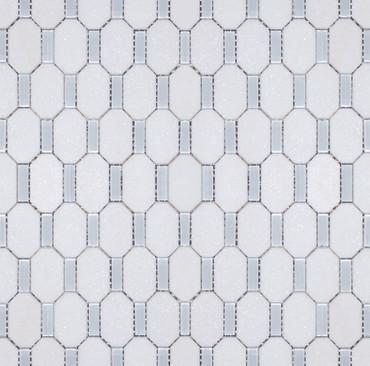 Manhattan Thassos & Superwhite Glass Polished Candles Mosaic (MB108)