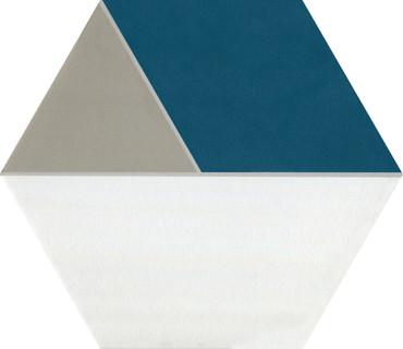 Bee Hive Medley Multiplex Blue/Taupe Porcelain Hex 8.5x10 (P045810HXMPLX1P)