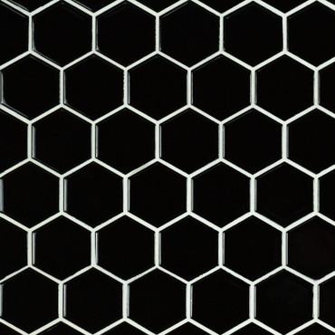 "Domino Black Glossy 2"" Hex Mosaic (SMOT-PT-RETNERO-2HEXG)"