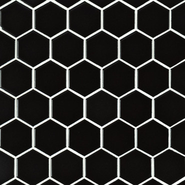 "Domino Black Matte 2"" Hex Mosaic (SMOT-PT-RETNERO-2HEXM)"