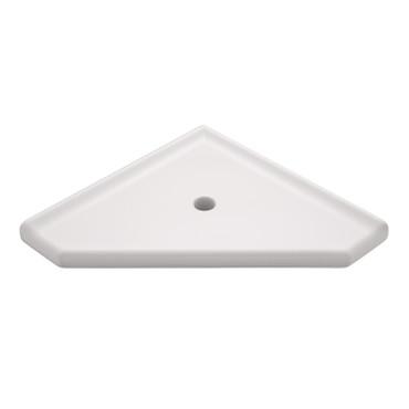 """Geo Lugged White Polished Corner Shelf 10"""" (SBA19513)"""