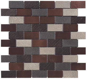 Twill Dark Oil-Rubbed Bronze Brick Mosaic 1x2 (MOSA200004)