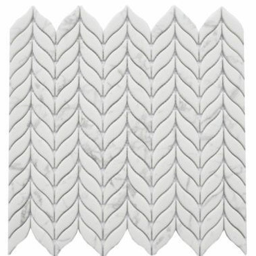 Enameled Glass Carrara Leaf Mosaic