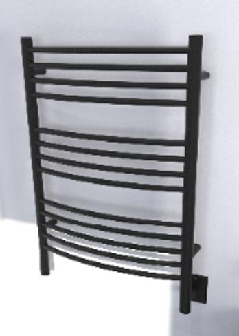 Jeeves C Curved Matte Black Heated Towel Rack 21.25 x 36.75 (CCMB)