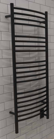 Jeeves D Curved Matte Black Heated Towel Rack 21.25 x 53.75 (DCMB)
