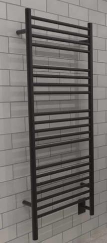 Jeeves D Straight Matte Black Heated Towel Rack 21.25 x 53.75 (DSMB)