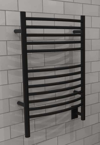 Jeeves E Curved Matte Black Heated Towel Rack 21.25 x 31.75 (ECMB)