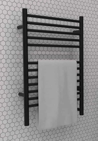 Jeeves E Straight Matte Black Heated Towel Rack 21.25 x 31.75 (ESMB)