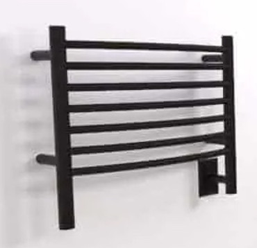 Jeeves H Curved Matte Black Heated Towel Rack 21.25 x 18.75 (HCMB)