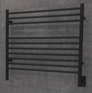 Jeeves K Straight Matte Black Heated Towel Rack 30.25 x 27.75 (KSMB)