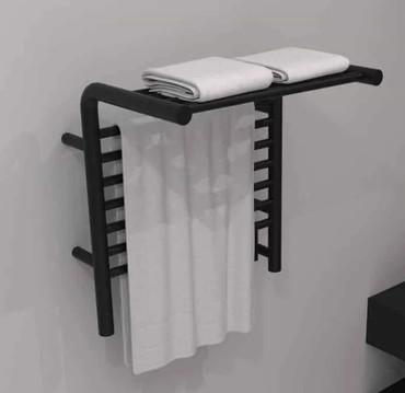 Jeeves M Shelf Matte Black Heated Towel Rack 21.25 x 22.75 x 15.25 (MSMB)