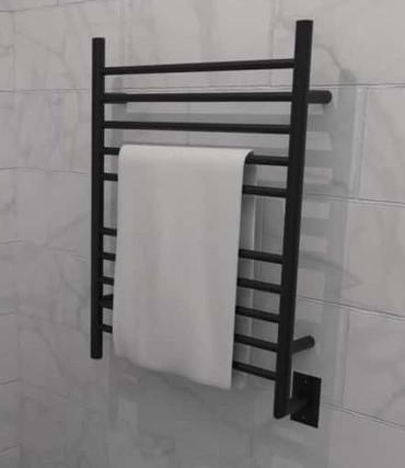 Radiant Straight Hardwired Matte Black Heated Towel Rack 23.625 x 31.875 (RWH-SMB)