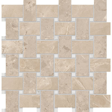 Velvet Almond Matte Porcelain Basketweave 12x12 Sheet (NA86)