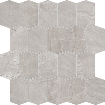 Velvet Grey Matte Porcelain Elongated Hex Mosaic 12x12 Sheet (NA99)