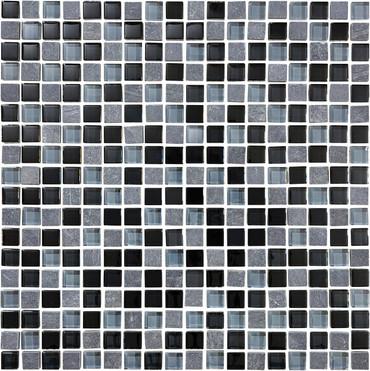 Glass Slate and Quartz Black Timber Glass Slate Blend Mosaic 5/8 x 5/8
