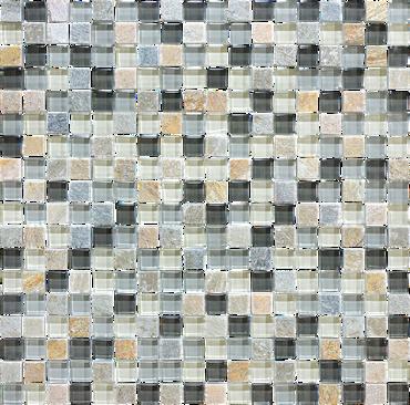 Glass Slate and Quartz Silver Aspen Glass Quartz Blend Mosaic 5/8 x 5/8