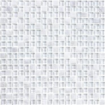 Glass Slate and Quartz Norwegian Ice Glass Quartz Blend Mosaic 5/8 x 5/8