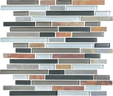 Glass Slate and Quartz Smoky Mica Glass Slate Blend Linear Mosaic 12x12 Sheet